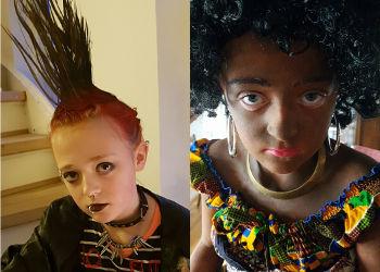 Fastelavn som punker og afrikaner dame